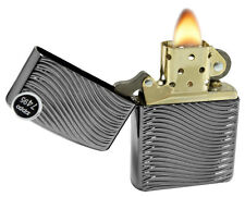 Zippo 29234 Armor Black Ice Deep Carve Waves Sleek High Polish Chrome Lighter