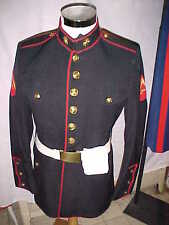 US. MARINE USED L/CORPORAL E-3 DRESS BLUE UNIFORM JACKET PLUS BELT &GLOVES