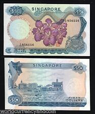 SINGAPORE $50 P5D 1973 BOAT ORCHID UNC HSS BRUNEI CURRENCU MONEY BILL BANK NOTE