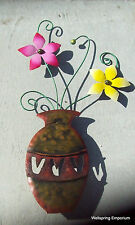 """Vase with Yellow and Pink Flowers"" 25"" Hand Crafted Porch Patio Wall Indoor Art"