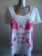 Replay 'W5931A' Steal my Kiss dog print loose tee M White/Pink