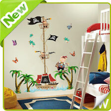 Pirate Ship Height Chart Wall Stickers Jungle Zoo Tree Nursery Baby Kids Bedroom