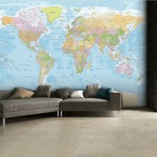 World Map Wallpaper Mural Sticker - 124x91.5