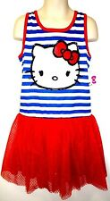 HELLO KITTY - KIDS - RED - WHITE - BLUE - GLITTER - DRESS - MEDIUM - 7/8 - NEW