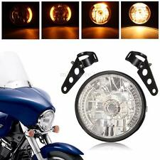 "7"" 35W Moto Phare Avant Feu Lampe Light Headlight LED Jaune Clignotant + Support"