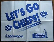 LET'S GO CHIEFS (Syracuse Chiefs) Give-Away Poster Metro Mattress - circa 1970's