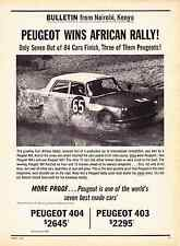 1963 PEUGEOT 403 / 404 WINS AFRICAN RALLY  ~  CLASSIC ORIGINAL PRINT AD