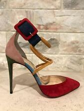 NIB Christian Louboutin Suzanna 100 Red Pink Green Ankle Strap Heel Pump 36.5