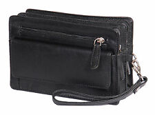Gents Leather Wrist Bag Clutch Travel Black Cab Money Mobile Organiser Man Bag