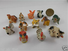 Figurines Ceramic Collection Animals Elephant Painted Miniatures Porcelain 12pc