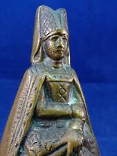 Lady Bell Figure Medieval Rare Vintage Antique Brass