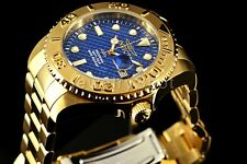 Invicta Mens Pro Diver 18K Gold Tone Blue Carbon Fiber Dial 47 mm SS Watch 15193