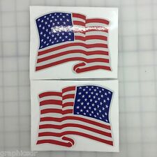 "5"" American Waving Flag 3M REFLECTIVE Stickers (x2)  Decal  USA  Police Fire"