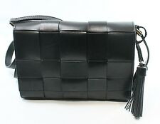 Michael Kors NEW Black Leather Woven Vivian Messenger Bag Purse $268 #039