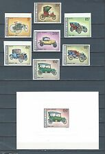 French Colonies Congo imperf stamp & deluxe sheet set of 7- old cars - 3 scans