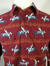 Wrangler Mens Cowboy Horse Riding Rodeo Red Pearl Snap Button Western Shirt XL