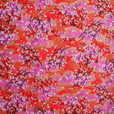 [Precut] 68x110cm Red Sakura Tree Japanese Cotton Fabric Remnant  -  PC736