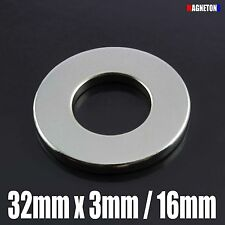 1 Neodymium Magnet Large DISC RING 32mm x 3mm / hole 16mm STRONG Neodimio