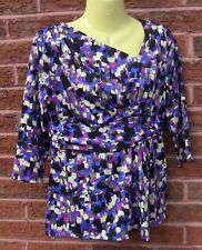 Per Una Purple/Pink/Black/Ivory Polyester Jersey 3/4 Sleeve Top, Size 12 BNWOT