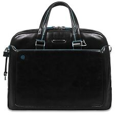 Piquadro Men's Leather Briefcase Style Travel Bag Notebook & Tablet Compartments
