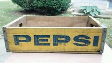 Vintage Pepsi Cola Yellow Blue Wooden Crate Holds 24 Bottles 1