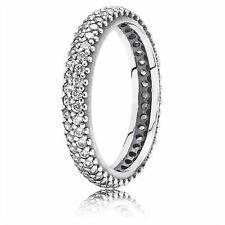 GENUINE AUTHENTIC PANDORA SILVER SPARKLING ZIRCONIA CURVE RING 190909CZ SIZE 56