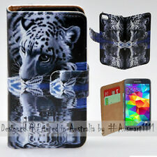 Wallet Phone Case Flip Cover for Samsung Galaxy S5 White Tiger Water Reflection