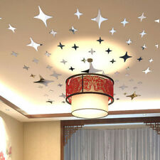 39pcs 3D Mirror Geometric Star Acrylic Wall Sticker Decal DIY Home Room Decor
