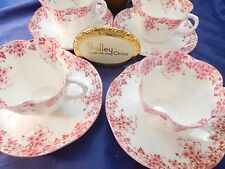 SHELLEY  FOUR SETS OF DAINTY PINK  DAISY   051/P       CUPS  AND  SAUCERS