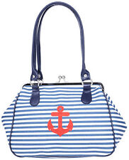 Küstenluder ALONA Sailor ANCHOR Streifen Kisslock Vintage TASCHE Rockabilly