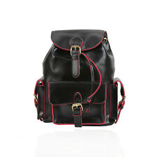 Black and Red Mini Backpack Faux Leather Rucksack School Bag Uni College Handbag