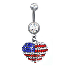 4th of July American US Flag Heart Charm Navel Belly Ring Body Piercing br32c
