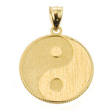 14k Gold Yin and Yang Taoist Symbol Charm Pendant Martial Arts Satin Finished