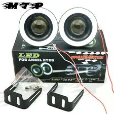 "2x Car 15W High Power 3"" 76 mm Projector LED Fog Light COB WHITE Angel Eyes Ring"