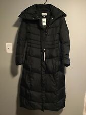 COLE HAAN SIGNATURE LONG DOWN PUFFER COAT PILLOW COLLAR XSMALL NWT ESPRESSO