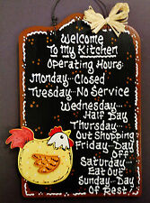 Black Sign Kitchen Operating Hours CHICKEN Rooster Plaque Wall Country Decor