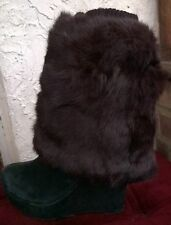 dark brown real genuine rabbit fur pelt leg warmer boots shoes cover topper