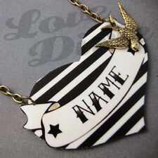 Customised Black and White Stripe Heart Tattoo Kitsch Necklace Rockabilly