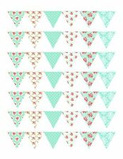 edible cake ribbon decorating icing Bunting Vintage Shabby Chic ND3
