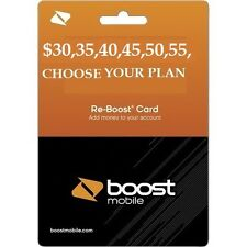 BOOST MOBILE $30,35,40,45,50,55 MONTHLY REFILL applied  DIRECTLY  TO PHONE