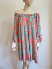 CORAL MINT DAMASK OFF SHOULDER BELL SLEEVE BOHO GYPSY DRESS WOMAN SIZE S/M