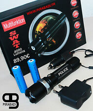 SWAT POLICE 1000M LAMPE TORCHE 4000 LUMENS LED FLASHLIGHT AVEC 2x8800MAH 18650