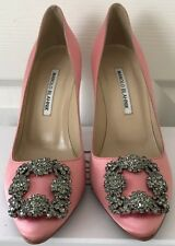 NWOB Manolo Blahnik Hangisi Pink Satin Jeweled Pumps Womens Size 38 $965 + Tax