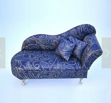 Blue Sofa Couch Chair Jewelry Case ring Box Dollhouse Doll Furniture Womans Gift