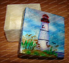 Lighthouse CAPIZ (Shell) Hand Painted Trinket, Jewelery Box (Kubla Craft, 1217)