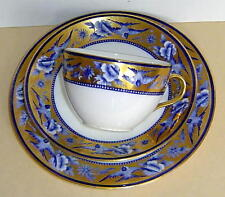 RARE ANTIQUE WILEMAN SHELLY BLUE SWALLOWS GILDED TRIO TEACUP SAUCER PLATE C.1910