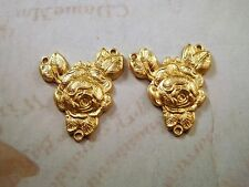 Raw Brass Rose Connector Stampings (2) - FF7491 Jewelry Finding