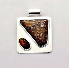 Dinosaur Bone and Fire Agate One of a kind Pendant Necklace 925 Sterling Silver