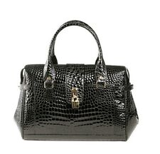 RAPHAEL Crocodile Alligator BLACK Primadona Handbag Exotic Leather Purse ITALY