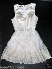 NWT bebe ivory gold embroidery lace flare v neck mesh top dress S small 4 party